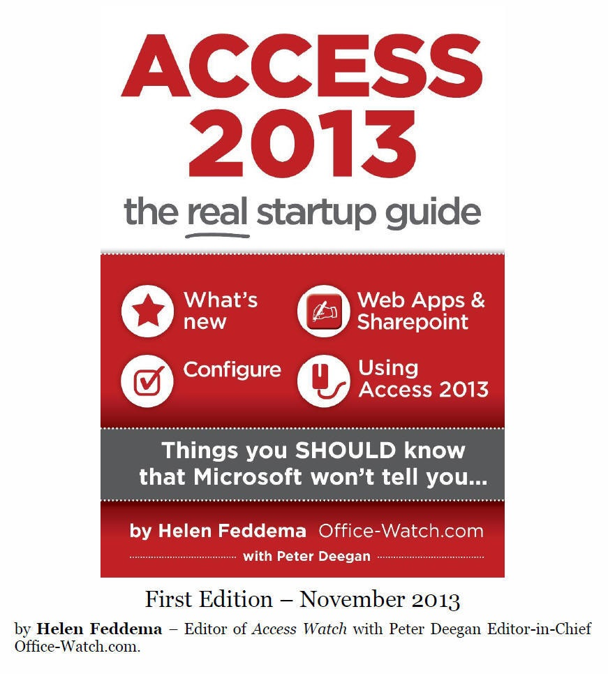 Access 2013 Startup Guide cover